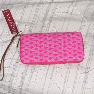 Hot pink Wallet with wrist strap